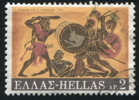 slaying: GREECE - CIRCA 1970: stamp printed by Greece, shows Slaying of Geryon, circa 1970 Stock Photo