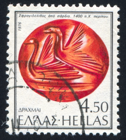 chasing tail: GREECE - CIRCA 1976: stamp printed by Greece, shows Flying aquatic birds, circa 1976 Stock Photo