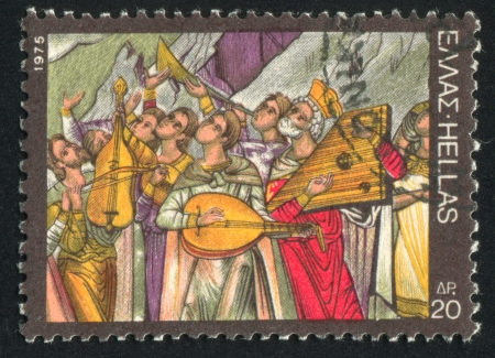 lyre: GREECE - CIRCA 1975: stamp printed by Greece, shows Musicians and singers prasing God, circa 1975 Stock Photo