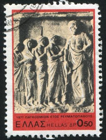 aesculapius: GRECIA - CIRCA 1977: timbro stampato dalla Grecia, Esculapio mostra con i pazienti, circa 1977 Archivio Fotografico