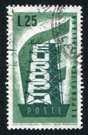 """rearrangement: ITALY - CIRCA 1956: stamp printed by Italy, shows """"Rebuilding Europe"""", circa 1956"""