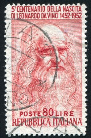 ITALY - CIRCA 1952: stamp printed by Italy, shows Leonardo da Vinci, circa 1952