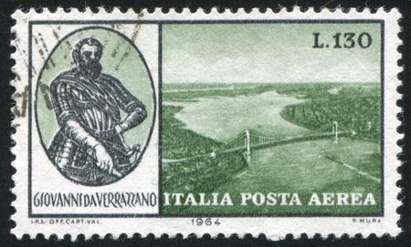ITALY - CIRCA 1964: stamp printed by Italy, shows Giovanni da Verrazano and Verrazano-Narrows Bridge, New York Bay, circa 1964 Stock Photo - 14259871
