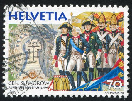 SWITZERLAND - CIRCA 1999: stamp printed by Switzerland, shows Field Marshal Aleksandr Suvorov Alpine Campaign, circa 1999