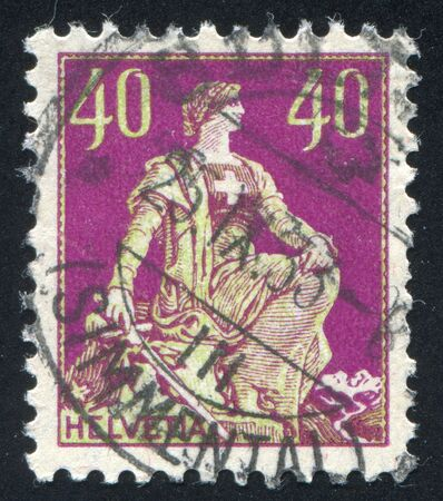 helvetia: SWITZERLAND - CIRCA 1907: stamp printed by Switzerland, shows Helvetia, circa 1907.