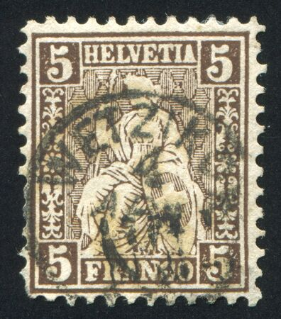 helvetia: SWITZERLAND - CIRCA 1864: stamp printed by Switzerland, shows Helvetia, circa 1864. Stock Photo