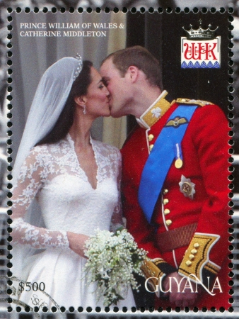 GUYANA - CIRCA 2012: stamp printed by Guyana, shows Prince William of Wales and Kate Middleton, marriage, circa 2012 Editorial