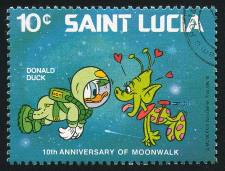 SAINT LUCIA - CIRCA 1980: stamp printed by Saint Lucia, shows shows Walt Disney Characters, Space scenes, Donald Duck, space creature, circa 1980.