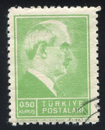 mustafa: TURKEY - CIRCA 1941: stamp printed by Turkey, shows Mustafa Ismet Inonu, President, circa 1941.