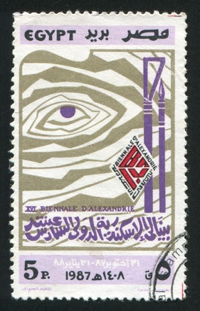 stratification: EGYPT - CIRCA 1987: stamp printed by Egypt, shows Abstract painting, Art Biennial of Alexandria emblem, circa 1987