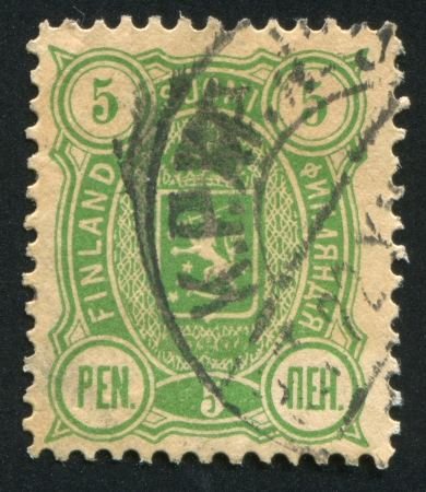 FINLAND - CIRCA 1892: stamp printed by Finland, shows Coat of arms of Finland, circa 1892