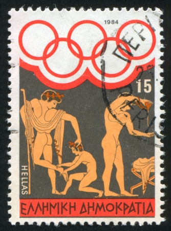 GREECE - CIRCA 1984: stamp printed by Greece, shows Athletes training, circa 1984