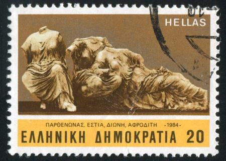 dione: GREECE - CIRCA 1984: stamp printed by Greece, shows Sculpture, Hestia, Dione, Aphrodite, circa 1984 Editorial