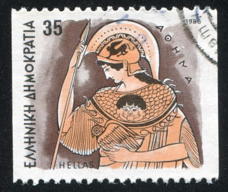athena: GREECE - CIRCA 1986: stamp printed by Greece, shows Gods, Athena, circa 1986