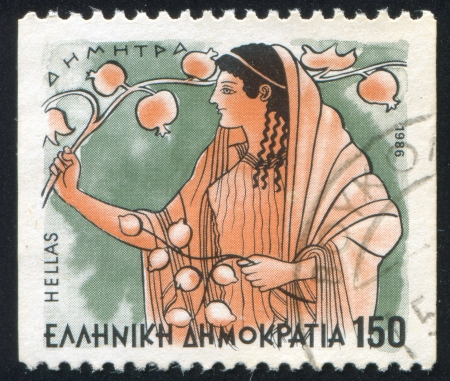 fertility goddess: GREECE - CIRCA 1986: stamp printed by Greece, shows Gods, Demeter, circa 1986 Editorial