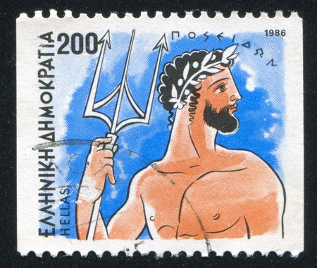 poseidon: GREECE - CIRCA 1986: stamp printed by Greece, shows Gods, Poseidon, circa 1986