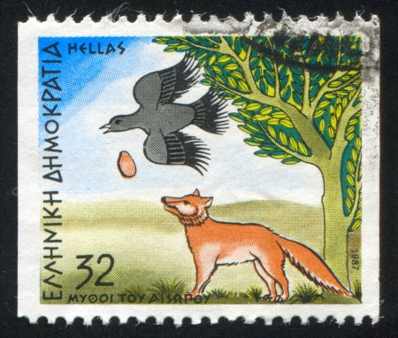 GREECE - CIRCA 1987: stamp printed by Greece, shows Fables, Crow and the Fox, circa 1987 Stock Photo - 14277747