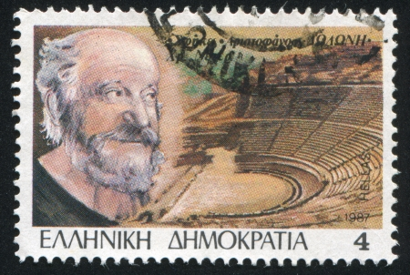repertoire: GREECE - CIRCA 1987: stamp printed by Greece, shows Theater, Christopher Nezer, circa 1987