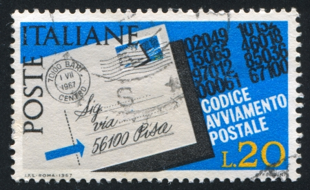 consignee: ITALY - CIRCA 1967: stamp printed by Italy, shows Letter addressed with postal zone number, circa 1967 Editorial