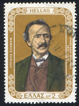 GREECE - CIRCA 1976: stamp printed by Greece, shows Heinrich Schliemann, archaeologist, circa 1976