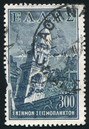 ravage: GREECE - CIRCA 1953 stamp printed by Greece, shows Church of Faneromeni, earthquake, circa 1953 Editorial