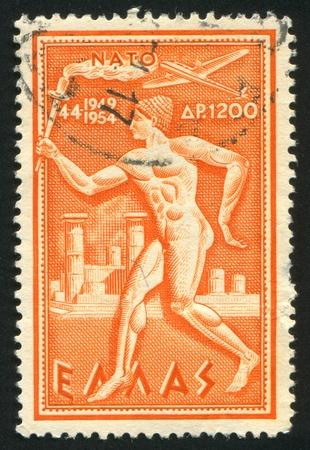 north atlantic treaty organization: GREECE - CIRCA 1954 stamp printed by Greece, shows anniversary of NATO, circa 1954 Editorial