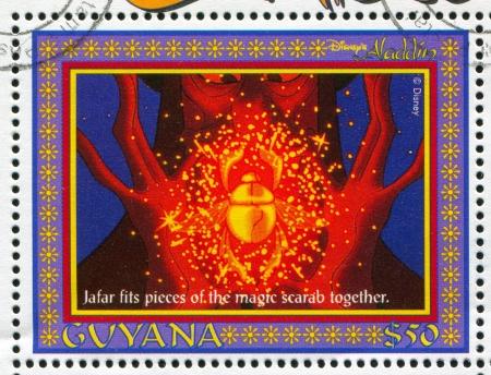 GUYANA - CIRCA 1993: stamp printed by Guyana, shows Aladdin, Disney animated film, Jafar, Grand Vizier, circa 1993