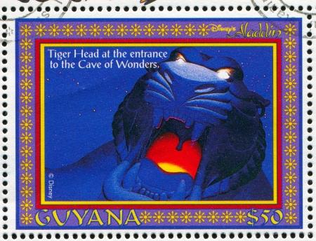 rajah: GUYANA - CIRCA 1993: stamp printed by Guyana, shows Aladdin, Disney animated film, Rajah, circa 1993