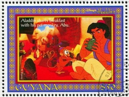 GUYANA - CIRCA 1993: stamp printed by Guyana, shows Aladdin, Disney animated film, circa 1993