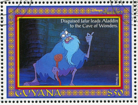 GUYANA - CIRCA 1993: stamp printed by Guyana, shows Aladdin, Disney animated film, Gin, circa 1993