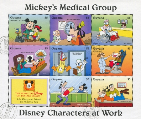 donald: GUYANA - CIRCA 1995: stamp printed by Guyana, shows Walt Disney characters, circa 1995 Editorial