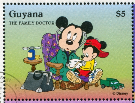 guyana: GUYANA - CIRCA 1995: stamp printed by Guyana, shows Walt Disney characters, Mickey Mouse, circa 1995