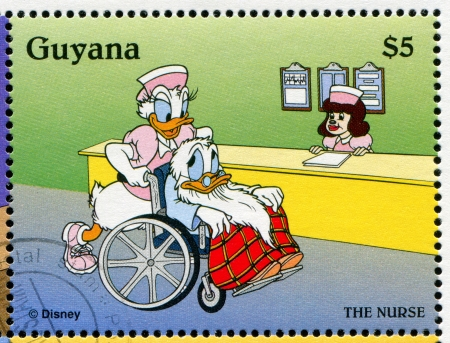 GUYANA - CIRCA 1995: stamp printed by Guyana, shows Walt Disney characters, Donald, circa 1995