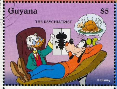 GUYANA - CIRCA 1995: stamp printed by Guyana, shows Walt Disney characters, Doctor Donald, circa 1995
