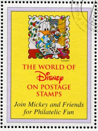 donald: GUYANA - CIRCA 1994: stamp printed by Guyana, shows Walt Disney characters, Donald, duck, circa 1994