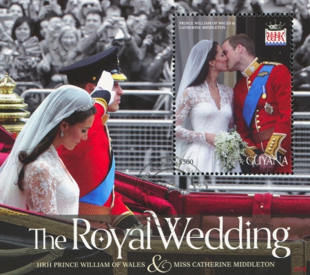 middleton: GUYANA - CIRCA 2012: stamp printed by Guyana, shows Prince William of Wales and Kate Middleton, marriage, circa 2012 Editorial