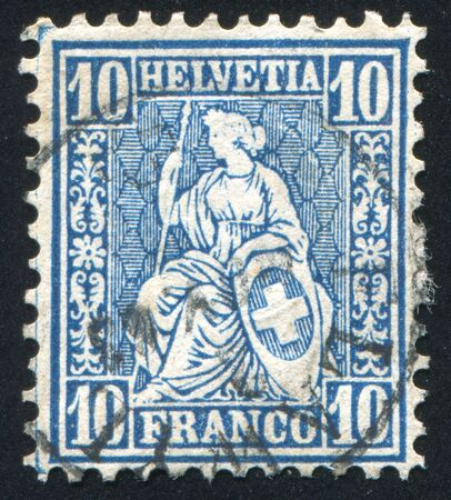 helvetia: SWITZERLAND - CIRCA 1864: stamp printed by Switzerland, shows Helvetia, circa 1864. Editorial