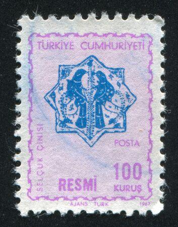 TURKEY - CIRCA 1967: stamp printed by Turkey, shows turkish pattern, circa 1967.