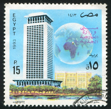 EGYPT - CIRCA 1993: stamp printed by Egypt, shows Skyscrapper, planet, circa 1993