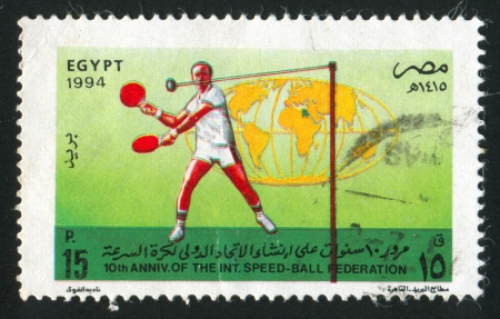 EGYPT - CIRCA 1994: stamp printed by Egypt, shows Sportsmen (speedball), globe, circa 1994