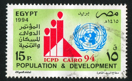 EGYPT - CIRCA 1994: stamp printed by Egypt, shows Emblem, pyramid, diagram, circa 1994