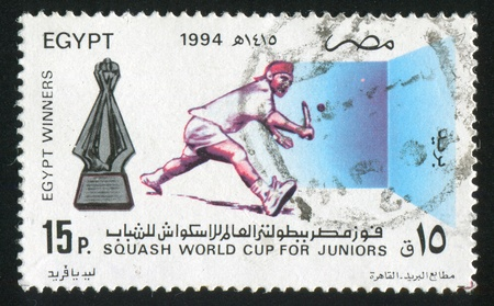 EGYPT - CIRCA 1994: stamp printed by Egypt, shows Sportsmen, Squash, circa 1994