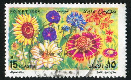 abjad: EGYPT - CIRCA 1995: stamp printed by Egypt, shows Flowers, circa 1995 Editorial