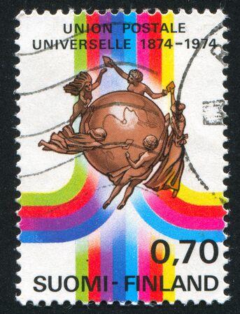 indian postal stamp: FINLAND - CIRCA 1974: stamp printed by Finland, shows UPU Badge, circa 1974