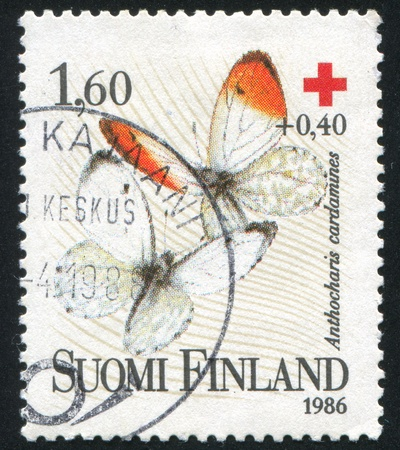 FINLAND - CIRCA 1986: stamp printed by Finland, shows Orange Tip, circa 1986 Stock Photo - 14444124