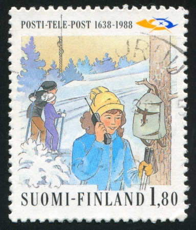 FINLAND - CIRCA 1988: stamp printed by Finland, shows Skiers, circa 1988