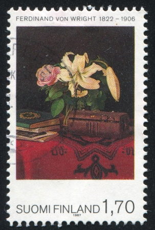 FINLAND - CIRCA 1987: stamp printed by Finland, shows Still Life on a Lady's Work Table, by Ferdinand von Wright, circa 1987