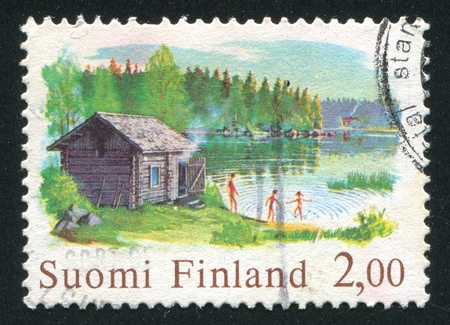 finland sauna: FINLAND - CIRCA 1977: stamp printed by Finland, shows Sauna and Lake, circa 1977