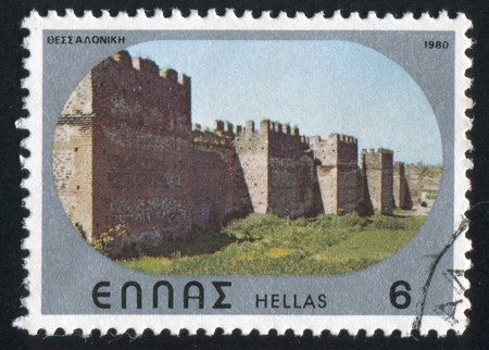 GREECE - CIRCA 1980: stamp printed by Greece, shows Byzantine castle of Thessalonica, circa 1980