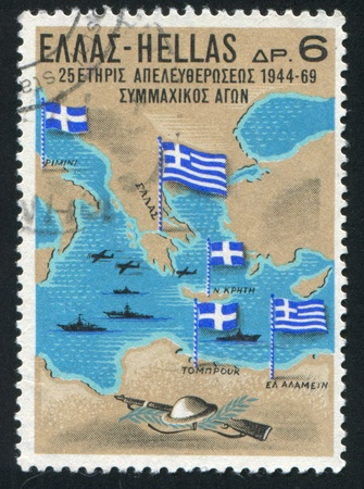 participation: GREECE - CIRCA 1969: stamp printed by Greece, shows Greek participation in World War II, circa 1969